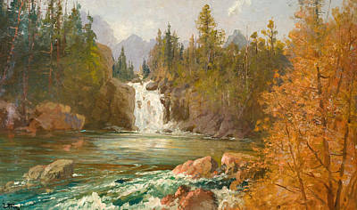 American Eagle Painting - Red Eagle Falls On Red Eagle Creek by Celestial Images