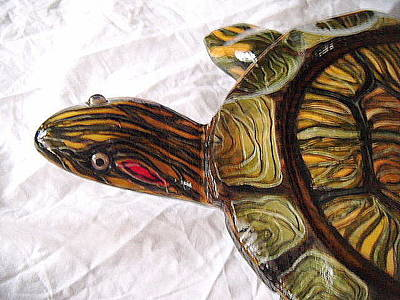 Slider Mixed Media - Red Ear Slider Turtle Cloe Up by Lisa Ruggiero