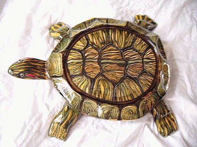 Slider Mixed Media - Red Ear Slider- Wooden Turtle by Lisa Ruggiero