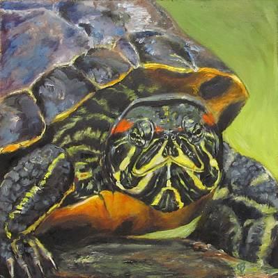 Slider Painting - Red-eared Slider Turtle Portrait by Joyce Brandon
