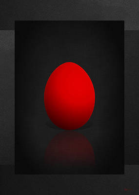 Digital Art - Red Egg On Black Canvas  by Serge Averbukh