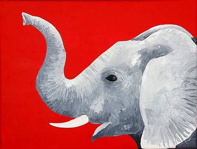 Black Tusk Painting - Red Elephant by Hilda Garcia