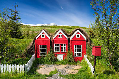 Elf Photograph - Red Elf Houses In Iceland For The Icelandic Hidden People by Matthias Hauser