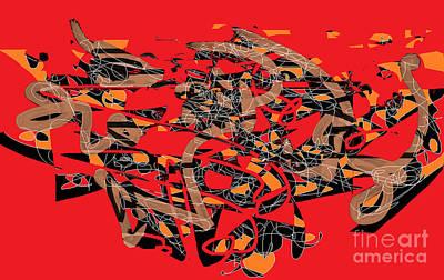 Action Lines Digital Art - Red Energy by Nancy Kane Chapman