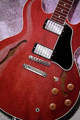 Digital Art - Red Es-335 by WB Johnston