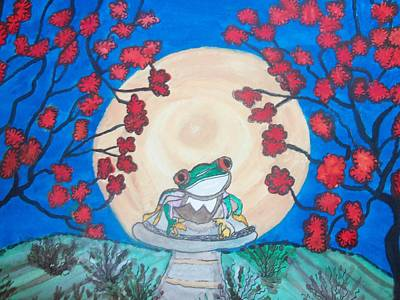 Art Print featuring the painting Red Eyed Frog Singing To The Moon by Connie Valasco