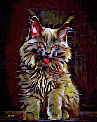 Coon Cat Digital Art - Red Eyed Main Coon  by Scott Wallace