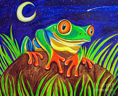 Red-eyed Tree Frog And Starry Night Art Print by Nick Gustafson