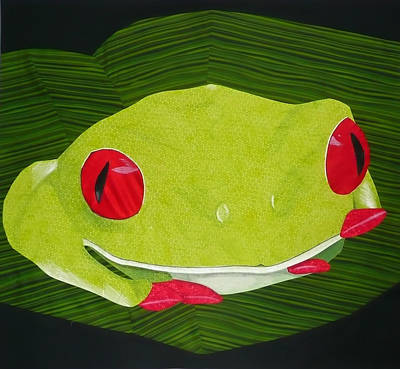 Tapestry - Textile - Red Eyed Tree Frog by Jo Baner
