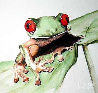 Frog Wall Art - Painting - Red Eyes by Ilaria Andreucci