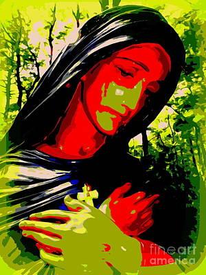 Digital Art - Red Faced Madonna by Ed Weidman