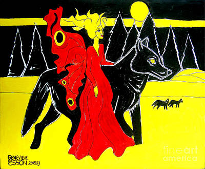 Mystical Landscape Painting - Red Faerie And Black Wolf With Yellow Moon by Genevieve Esson
