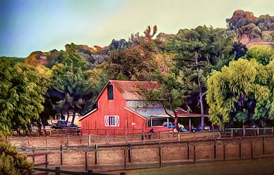 Mixed Media - Red Farm Barn  by Joseph Hollingsworth