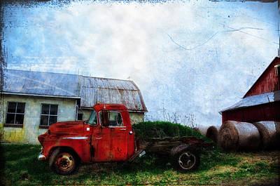 Bale Digital Art - Red Farm Truck by Bill Cannon