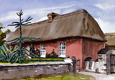 Painting - Red Farmhouse Bunratty Clare by Val Byrne