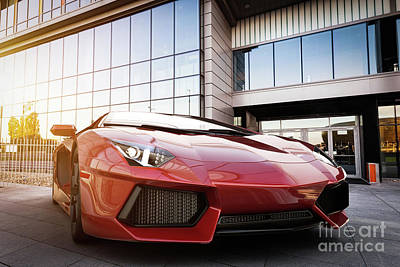 Lamps Photograph - Red Fast Sports Car In Modern Urban Setting. Generic, Brandless Design by Michal Bednarek