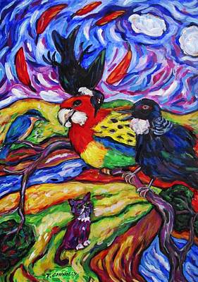 Painting - Red Feathers Fly Southward by Dianne  Connolly