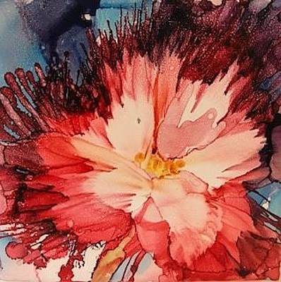 Painting - Red Feathery Flower by Brenda Owen