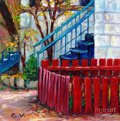 Wooden Stairs Painting - Red Fence Plateau Mont Royal  Montreal Autumn City Scene Canadian Art  Grace Venditti    by Grace Venditti