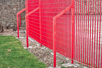 Iron Wire Photograph - Red Fence by Tom Gowanlock