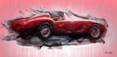 Digital Art - Red Ferrari by Michael Cleere