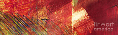 Provence Drawing - Red Field Abstract Landscape 1 by Elizabetha Fox