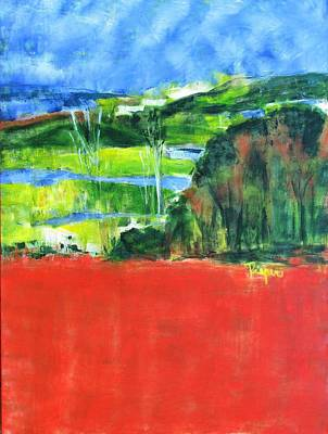 Painting - Red Field And Green Trees by Betty Pieper