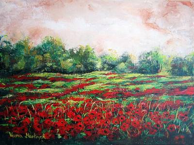 Floral Painting - Red Field I by Vesna Martinjak