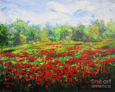 Floral Painting - Red Field by Vesna Martinjak