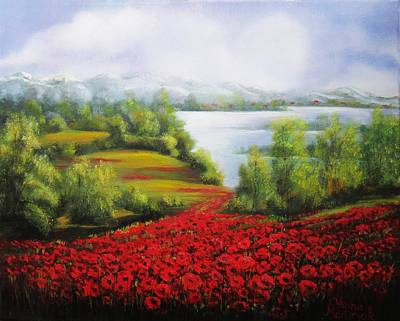 Painting - Red  Fields by Vesna Martinjak