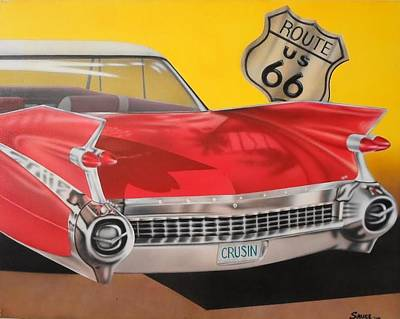Red Fins On Route 66 Original by Brett Sauce