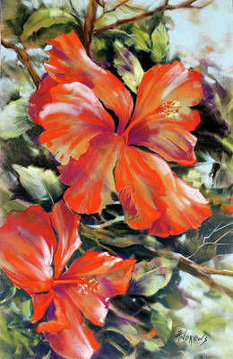 Painting - Red Fire Hibiscus by Rae Andrews