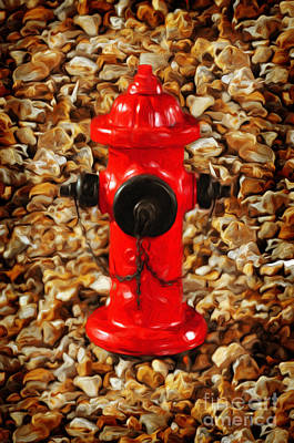 Andee Design Red Photograph - Red Fire Hydrant by Andee Design