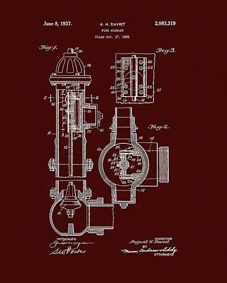 Drawing - Red Fire Hydrant Patent by Dan Sproul
