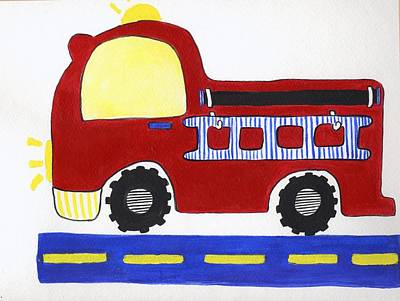 Red Fire Truck Art Print by Christine Quimby