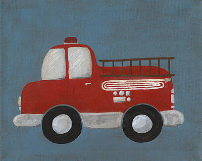 Red Fire Truck Nursery Art Art Print by Katie Carlsruh