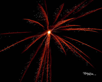 Photograph - Red Fireworks #0699 by Barbara Tristan