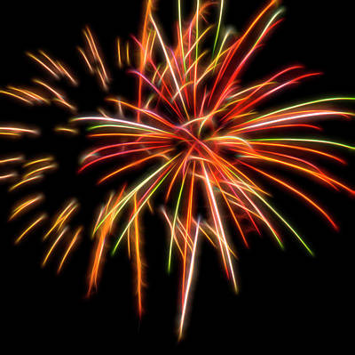 Photograph - Red Fireworks #5 by Yulia Kazansky