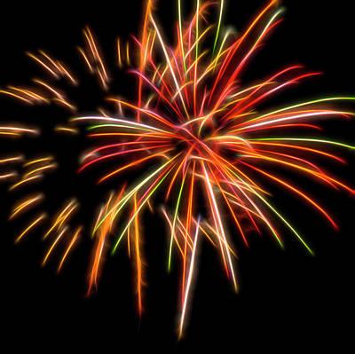 Photograph - Red Fireworks #5 by Yulia Kazansky