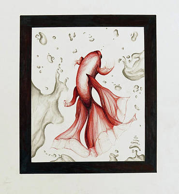 Marker Mixed Media - Red Fish by Anastasia Eren