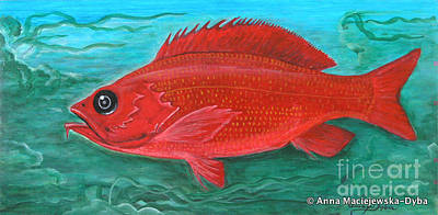 Polonia Art Painting - Red Fish by Anna Folkartanna Maciejewska-Dyba