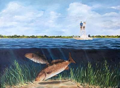 Painting - Redfish dance by Cheryl Green