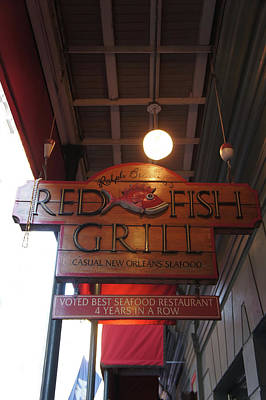 Grilled Fish Photograph - Red Fish Grill Sign by Art Spectrum