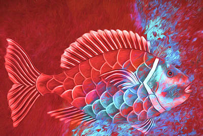 Striking Digital Art - Red Fish Into The Blue by Carol Leigh
