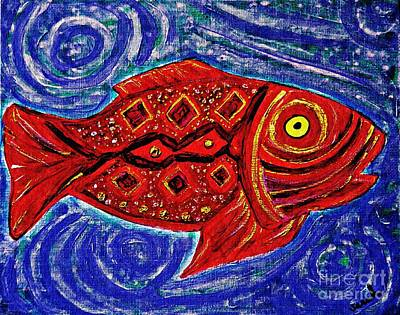 Education Painting - Red Fish by Sarah Loft