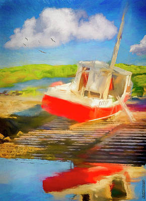 Digital Art - Red Fishing Boat by Ken Morris