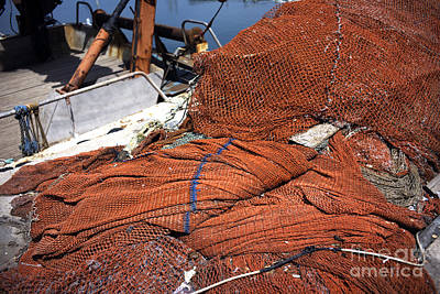 Photograph - Red Fishing Net At The Jaffa Port by John Rizzuto