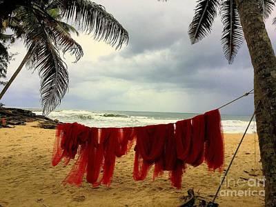 Red Fishing Net Art Print