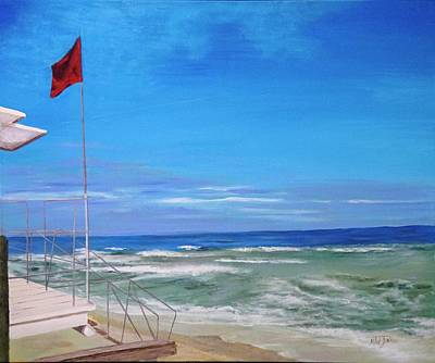 Painting - Red Flag At Waveland 2 by Mike Jenkins