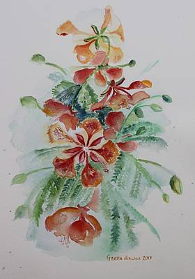 Painting - Red Flamboyant Flowers Still Life In Watercolor  by Geeta Biswas